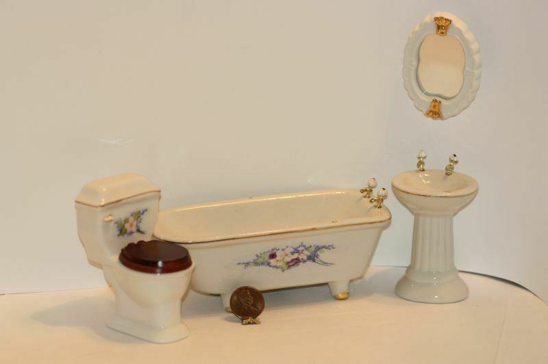 Dollhouse miniature fancy bathroom set ebay for Fancy bathroom sets
