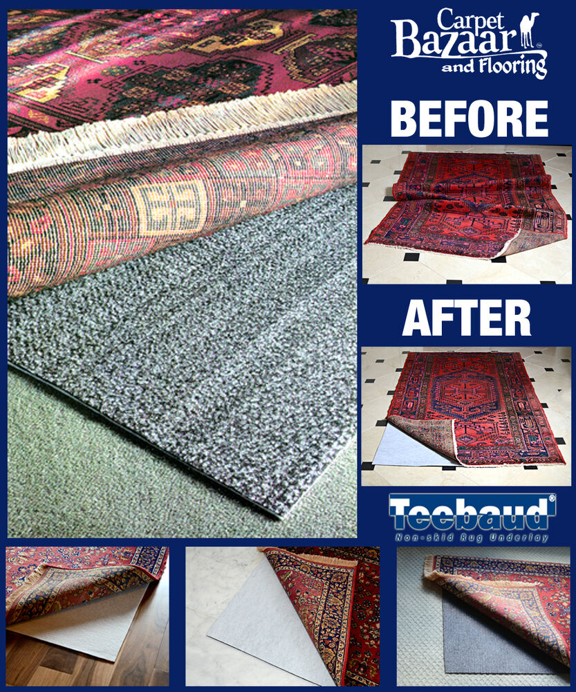2' X 4' Teebaud Non-Skid Reversible Rug Pad For Rugs On
