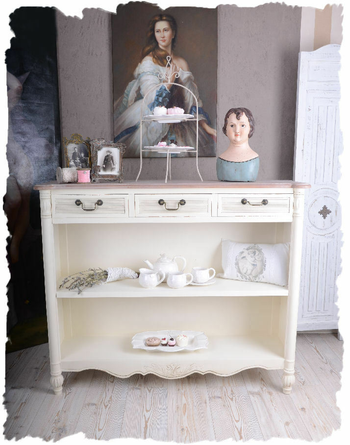 regalschrank weiss b cherschrank shabby chic anrichte regal vintage schrank ebay. Black Bedroom Furniture Sets. Home Design Ideas