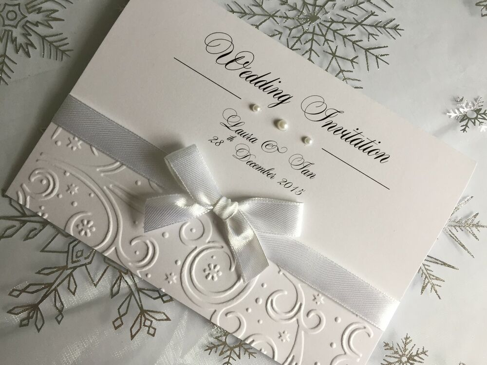 SAMPLE Embossed Wedding Or Evening Invitations Handmade Winter