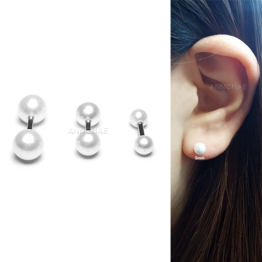 18b31f530 Details about Imitate Pearl Stud Earring Surgical Steel Body Tragus Helix  Ear Piercing 16G