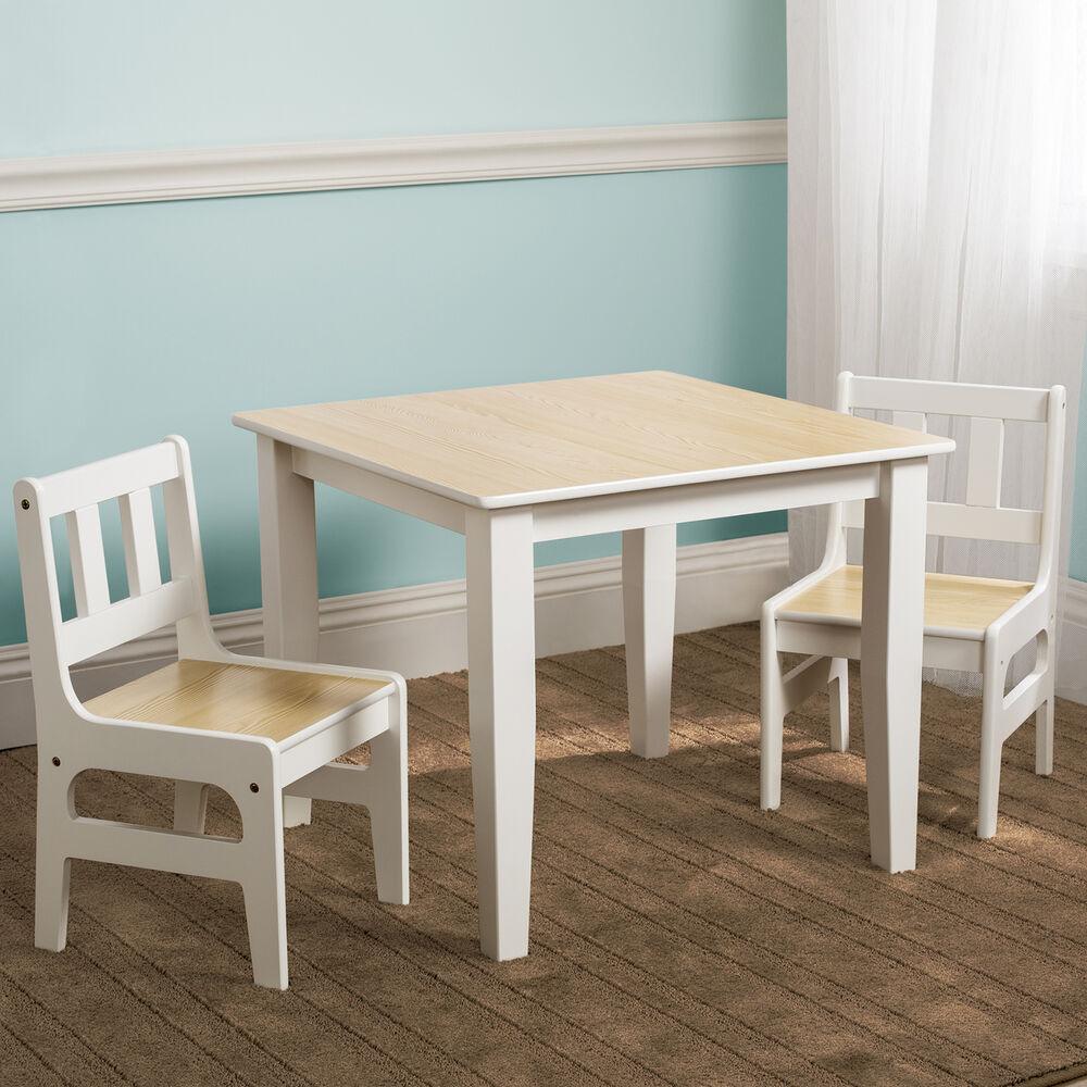 New Delta Children Natural Kids Wooden Table Chairs Set For Bedroom Playroom Ebay