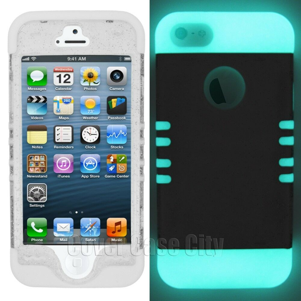 iphone 5s glow in the dark case clear glitter cover w glow in the silicone skin 20486