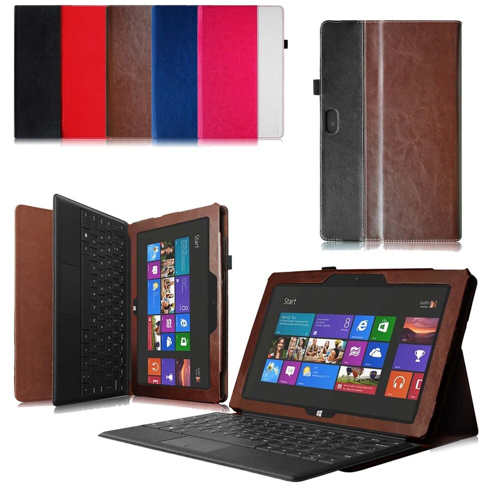 Microsoft Surface RT/Surface 2 Windows 8 Leather Case Cover w/ Keyboard Holder | eBay