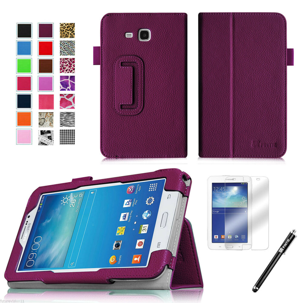 leather case cover screen protector for samsung galaxy tab 3 e lite 7 0 7 ebay. Black Bedroom Furniture Sets. Home Design Ideas