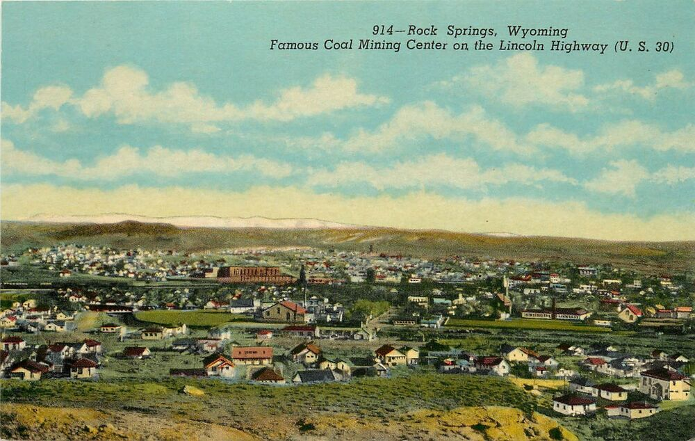 Rock Springs, WY Postcard Aerial View Town on Lincoln