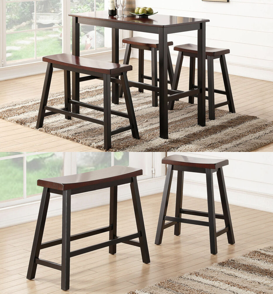Espresso rubber wood counter height table high bench set for Bar stool table