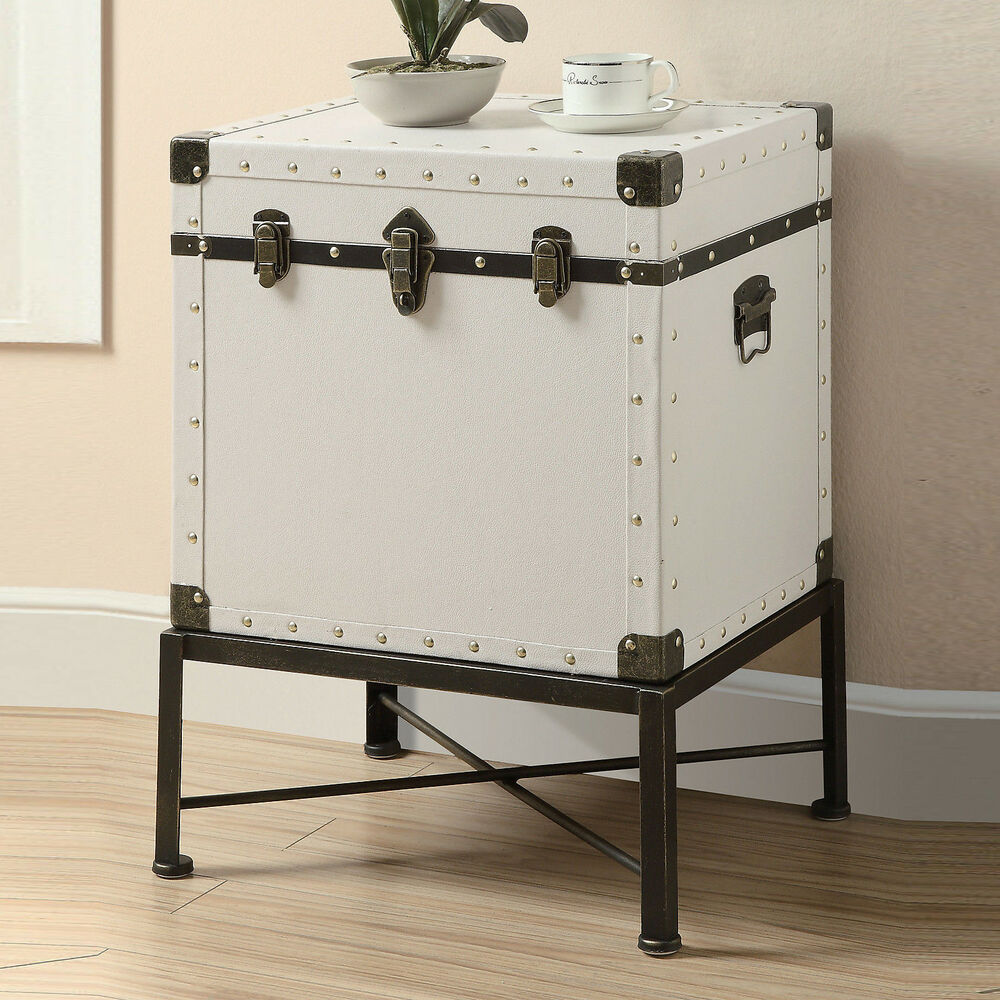 White Traditional Nailhead Design Wood Trunk-Style Accent