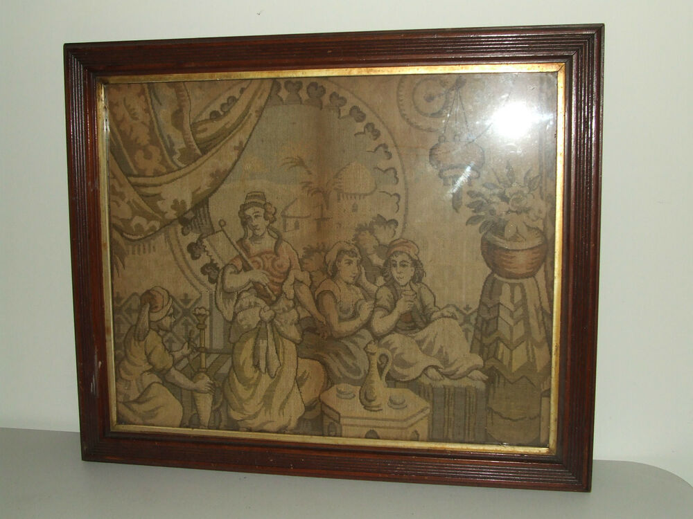 Antique Framed 19th C Embroidery Tapestry Sampler In