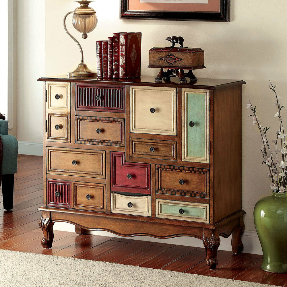 Desree accent chest cabinet storage console table multi colored antique walnut ebay - Sofa table with cabinets ...