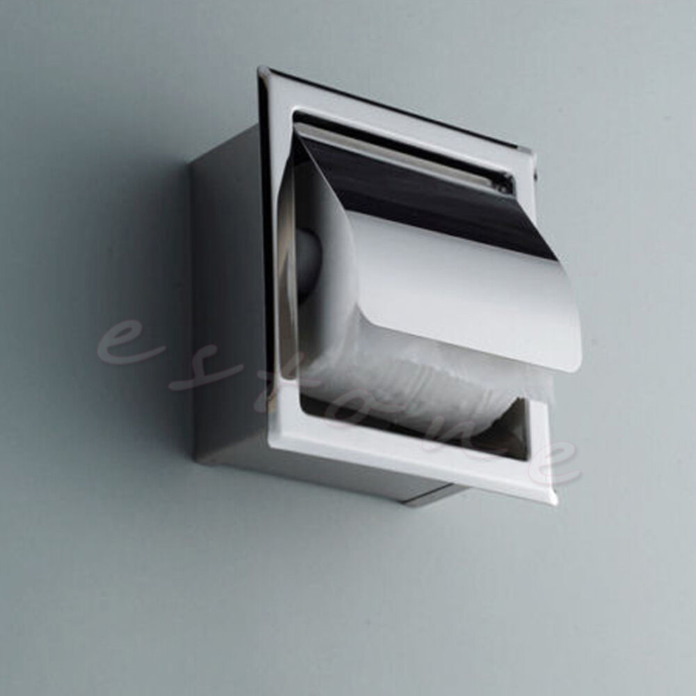 New stainless steel bathroom toilet paper holder roll tissue box wall mounted ebay - Tissue holder bathroom ...