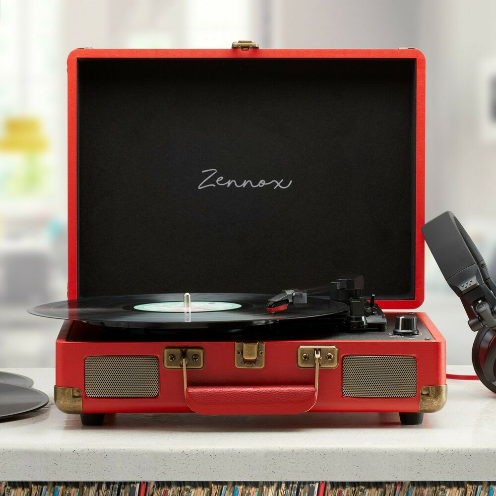 Union Jack Retro Portable Briefcase Vinyl Turntable Record