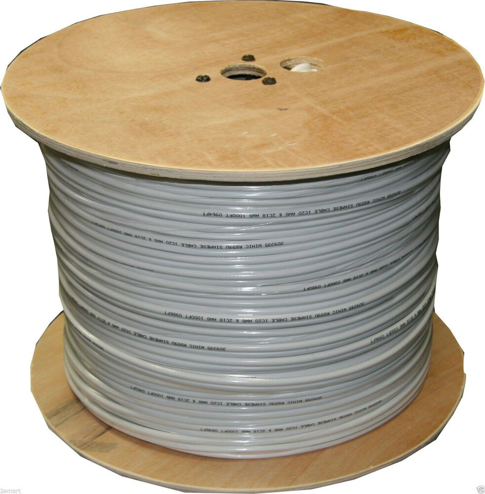 Copper Cable Rolls : Roll solid copper coax ft rg siamese cable