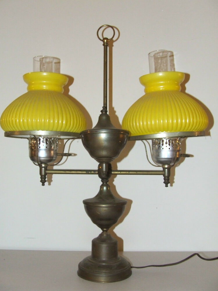 vintage brass victorian dual student piano table lamp with yellow glass shades ebay. Black Bedroom Furniture Sets. Home Design Ideas