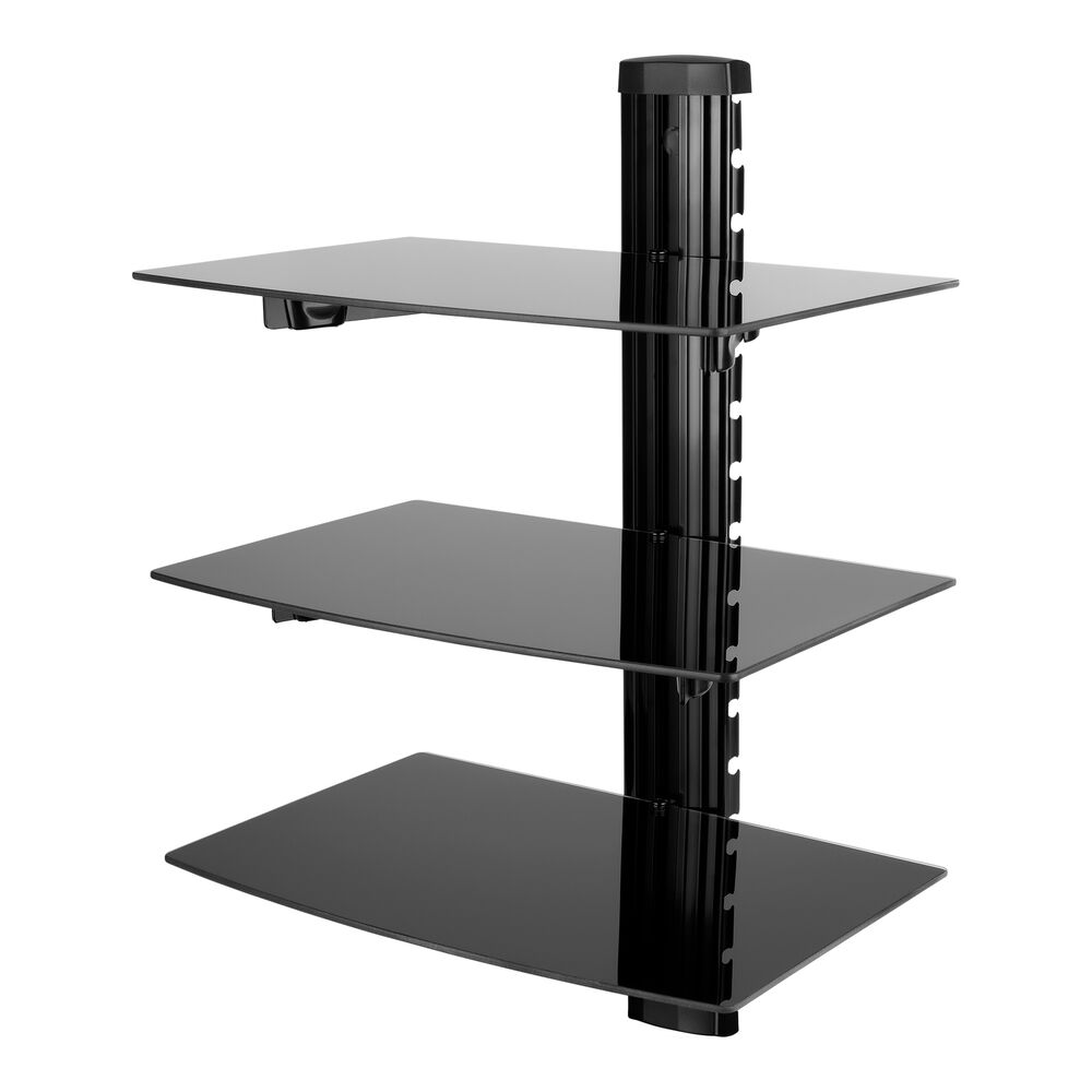 hifi glas regal wandhalterung glasregal wandregal rack f r dvd ps4 bluray player ebay. Black Bedroom Furniture Sets. Home Design Ideas