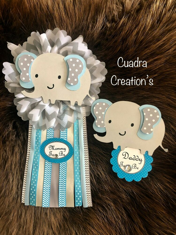 Baby Shower Corsage Elephant Theme Blue And Gray