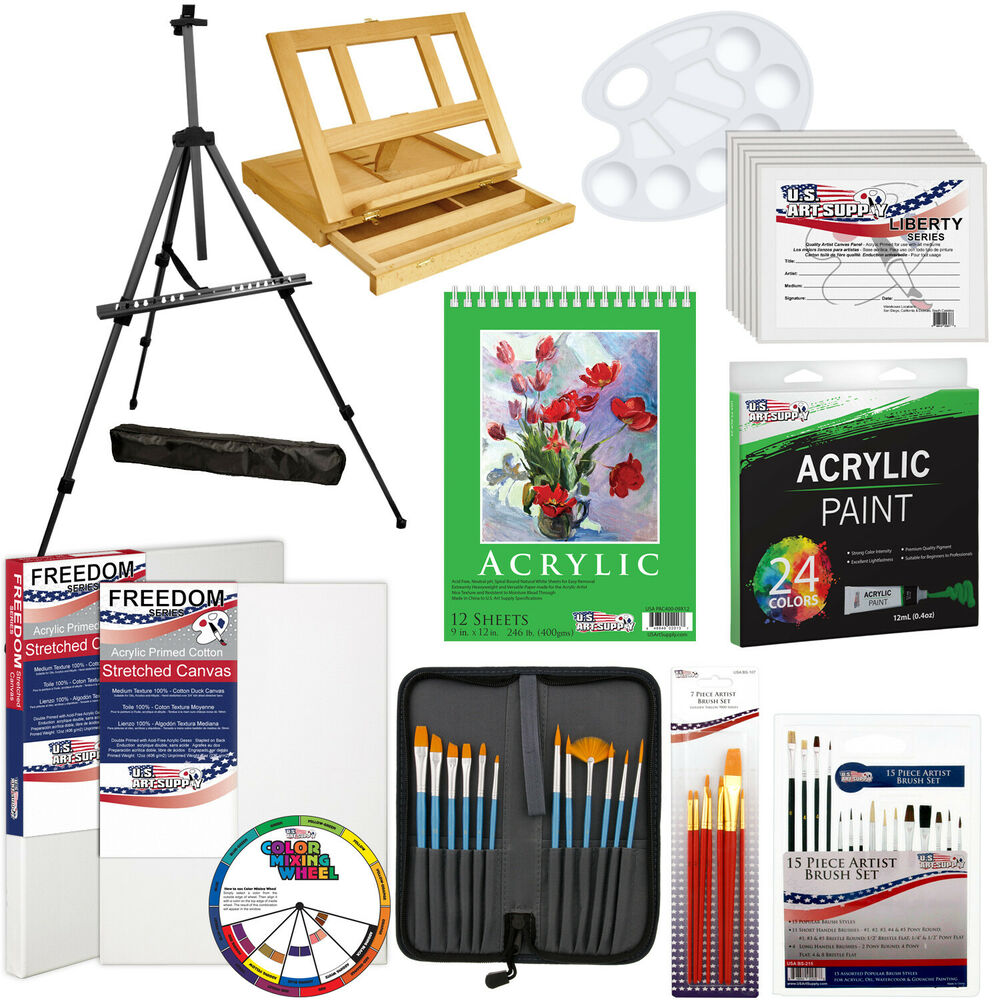 72 piece acrylic painting set table easel aluminum for Acrylic mural paint supplies