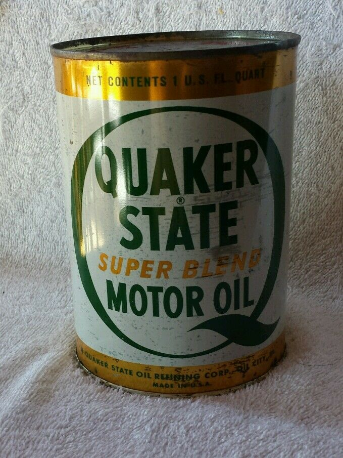 Vintage quaker state super blend quart motor oil can full for Quart of motor oil