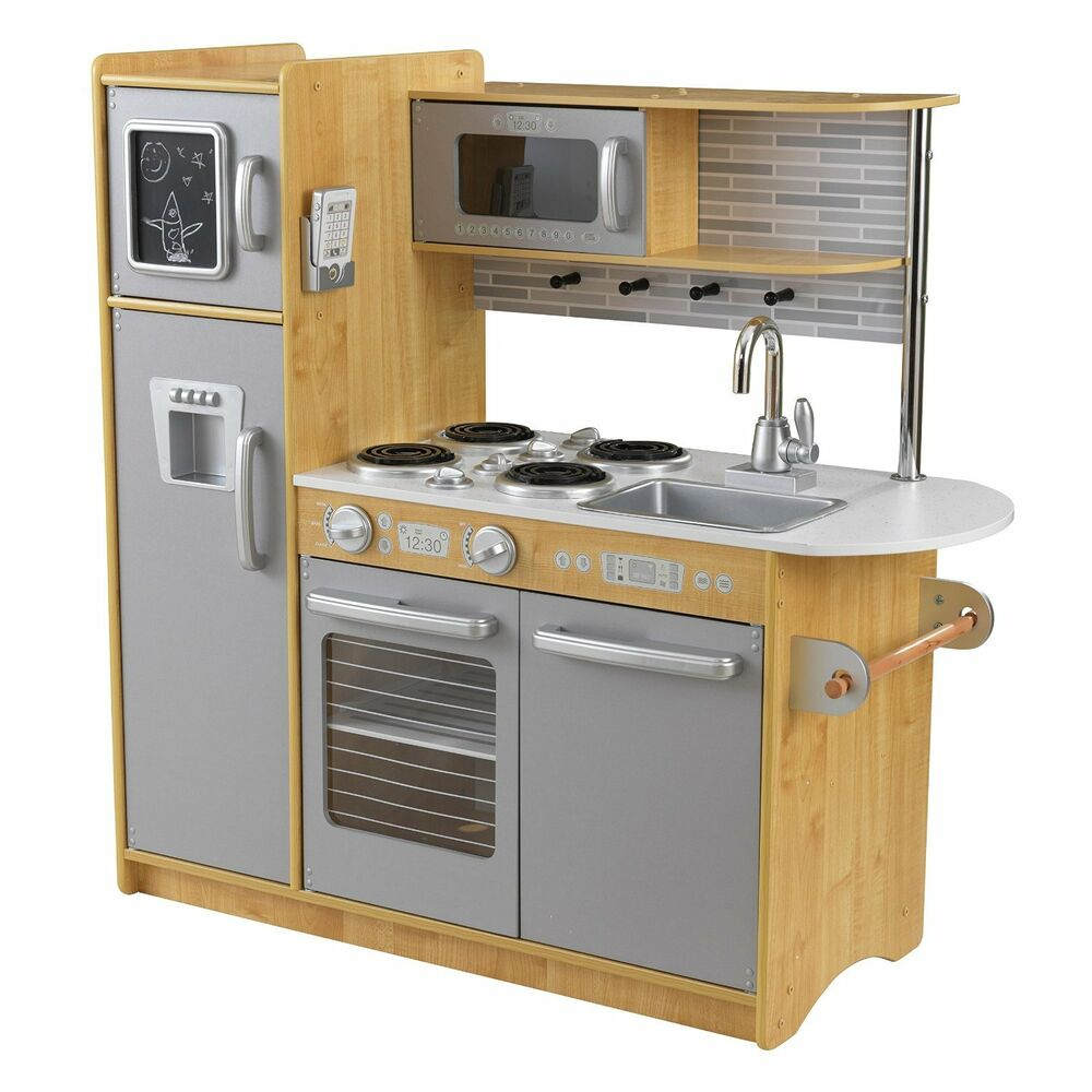 KidKraft Uptown Espresso Kitchen NATURAL Refrigerator Kids