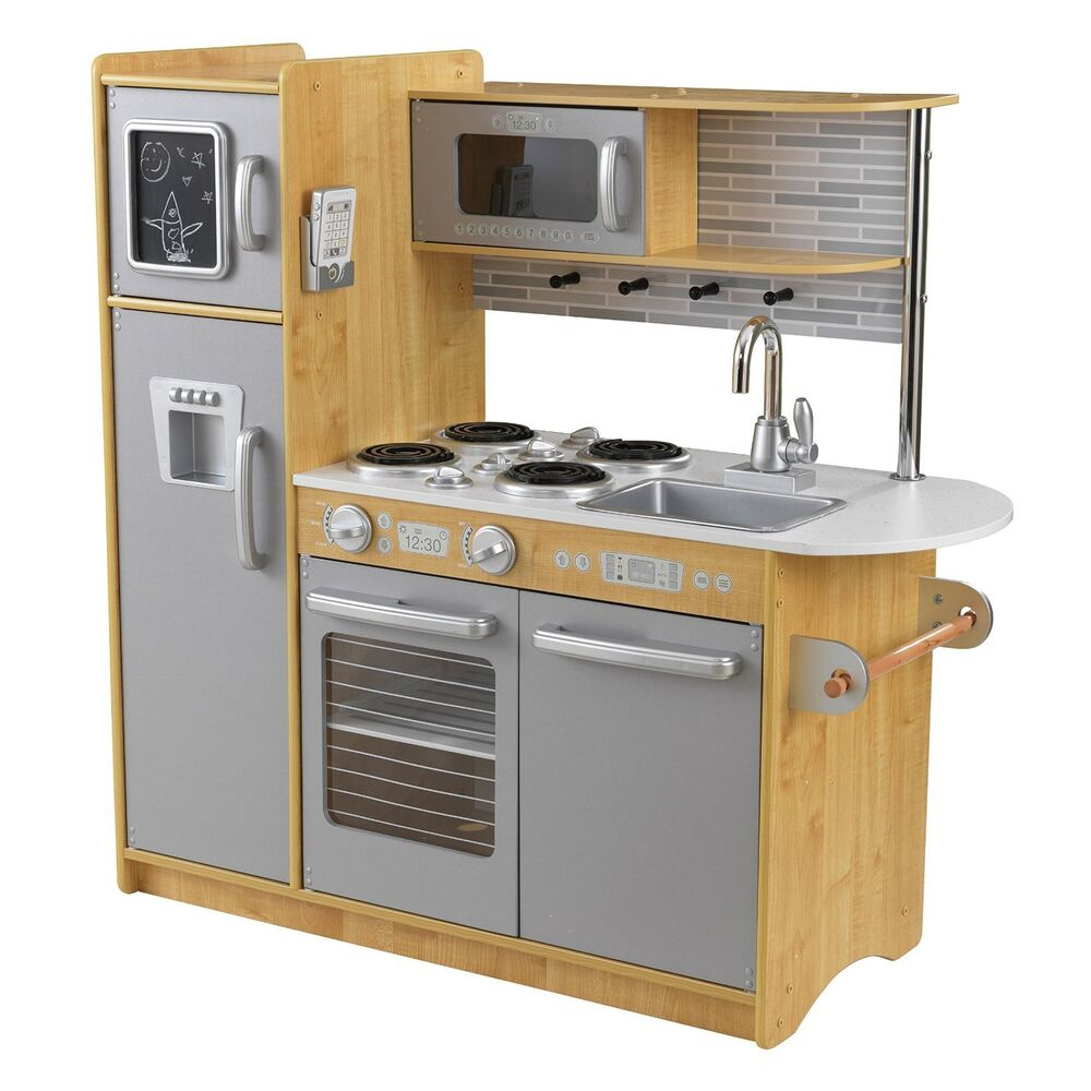 KidKraft Uptown Espresso Kitchen NATURAL Refrigerator Kids Pretend Play Set Wood