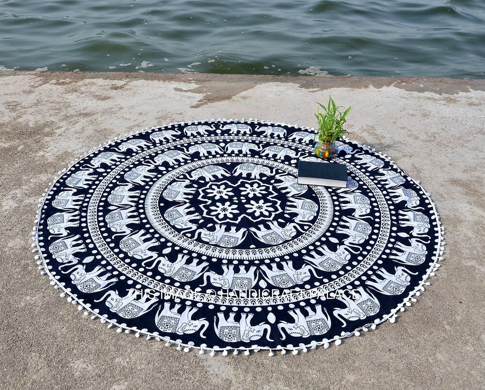 l phant rond mandala yoga tapisserie boho tapis de plage. Black Bedroom Furniture Sets. Home Design Ideas