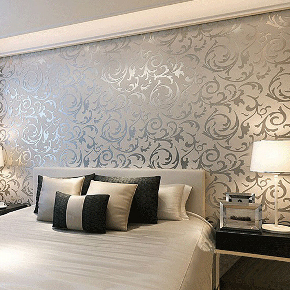 Floral textured damask design glitter wallpaper for living for Home wallpaper designs for living room