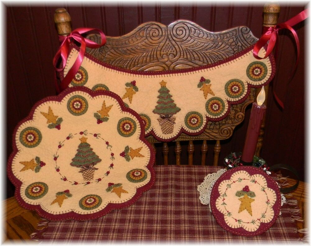 O Christmas Tree Chair Swag Penny Rug Candle Mat