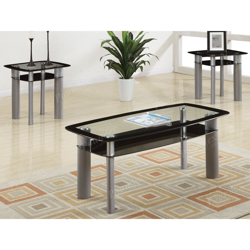 3PC Black Temper Glass Tops Metal Legs Coffee Table W