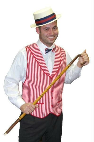 Barbershop Quartet Costume : ... NINTIES RED WHITE STRIPED VEST BARBERSHOP QUARTET COSTUME AB64 eBay