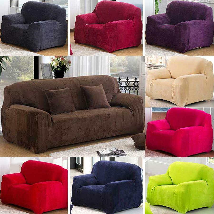 super thick solid colour plush pillow couch stretch sofa cover 1 2 3 4 seater ebay. Black Bedroom Furniture Sets. Home Design Ideas