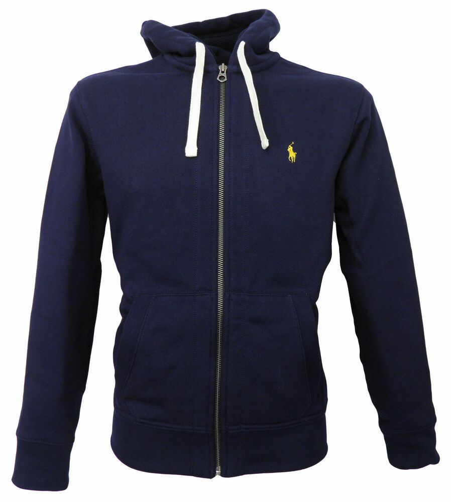 polo ralph lauren mens genuine new navy blue hoody hoodie zip jacket xs s m l xl ebay. Black Bedroom Furniture Sets. Home Design Ideas