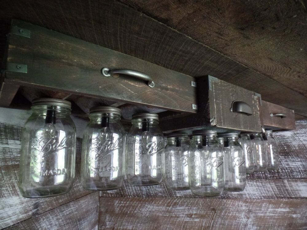 Handmade Mason Jar Barn Box Farmhouse ceiling light Fixture 10 Light Custom