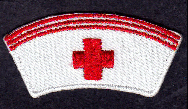 Nurse Cap W Red Cross Iron On Embroidered Patch