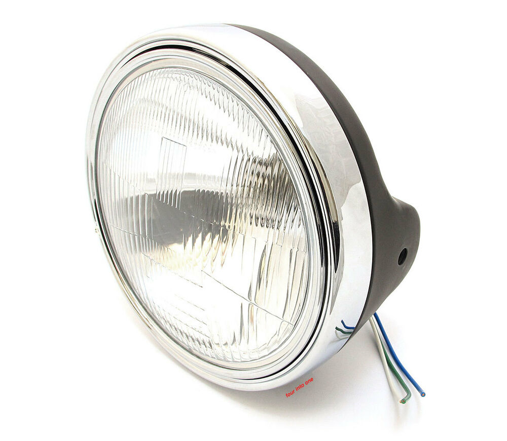 Motorcycle Headlight Assembly : Universal quot motorcycle halogen headlight assembly flat