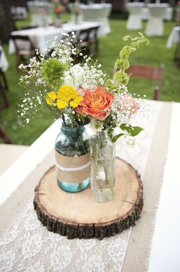 Ash wooden tree slice wedding centrepiece cm