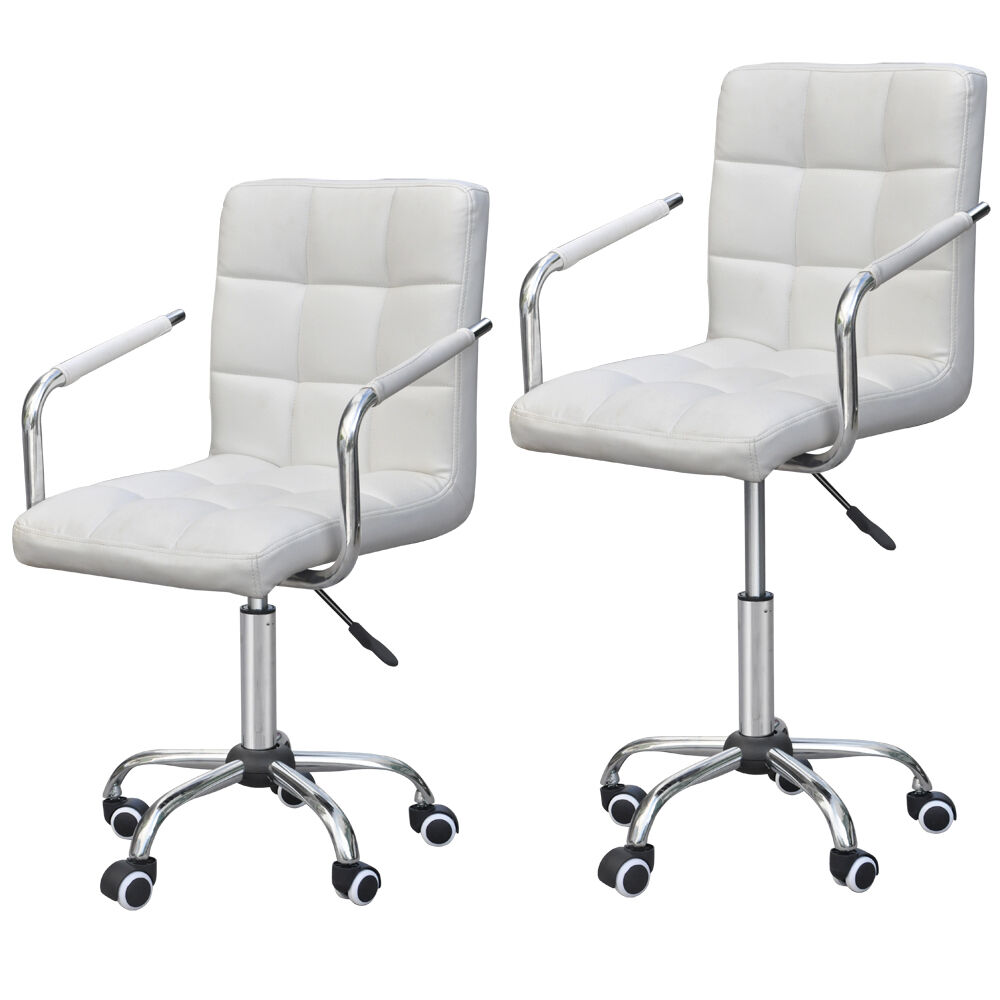 Modern Computer Office Executive Chair PU Leather Swivel Seat Adjustable Whit