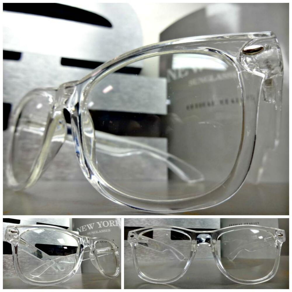 mens women vintage retro style clear lens eye glasses transparent crystal frame