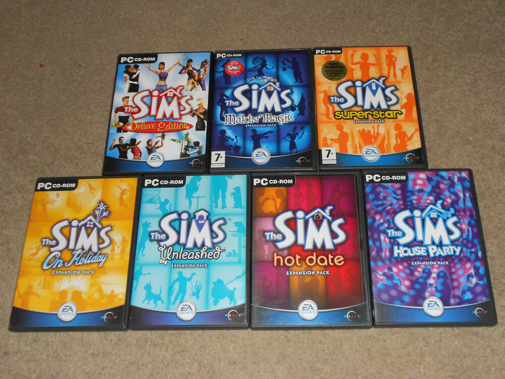 the sims deluxe 1 base game 7 expansion packs complete collection pc bundle ebay. Black Bedroom Furniture Sets. Home Design Ideas