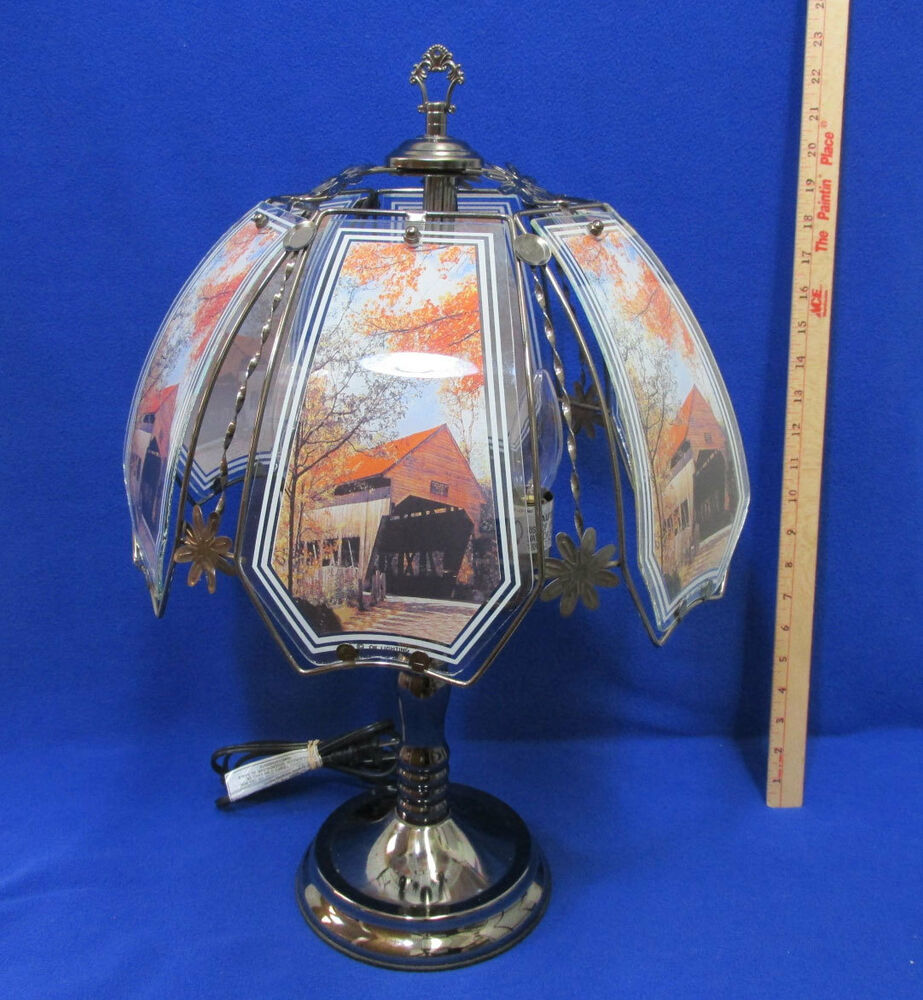 Lamp Lighting: 3 Way Touch Lamp Light Electric 6 Glass Panels Autumn Leaf
