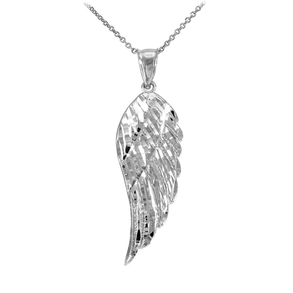 14k White Gold Angel Wing Pendant Necklace Size L Large
