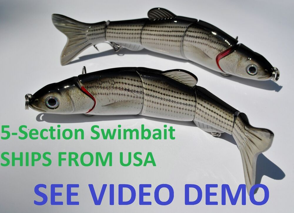 2 multi jointed 5 section fishing swimbait crankbait lure for Baby bass fish for sale