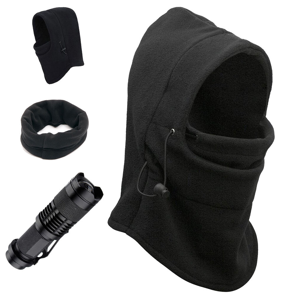 Details about Thermal Fleece Balaclava Winter Face Ski Mask CREE LED  Tactical Flashlight Combo c262071b13eb