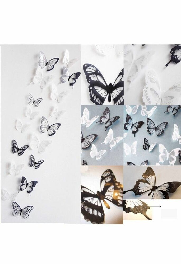 Cute Black Wall Decor : Pcs d cute black white butterfly crystal decor wall