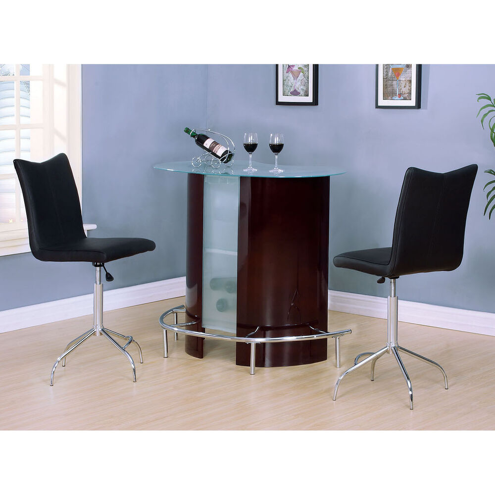 Black Bar Set: Wine Tempered Glass Top Bar Table Black Swivel Adjustable