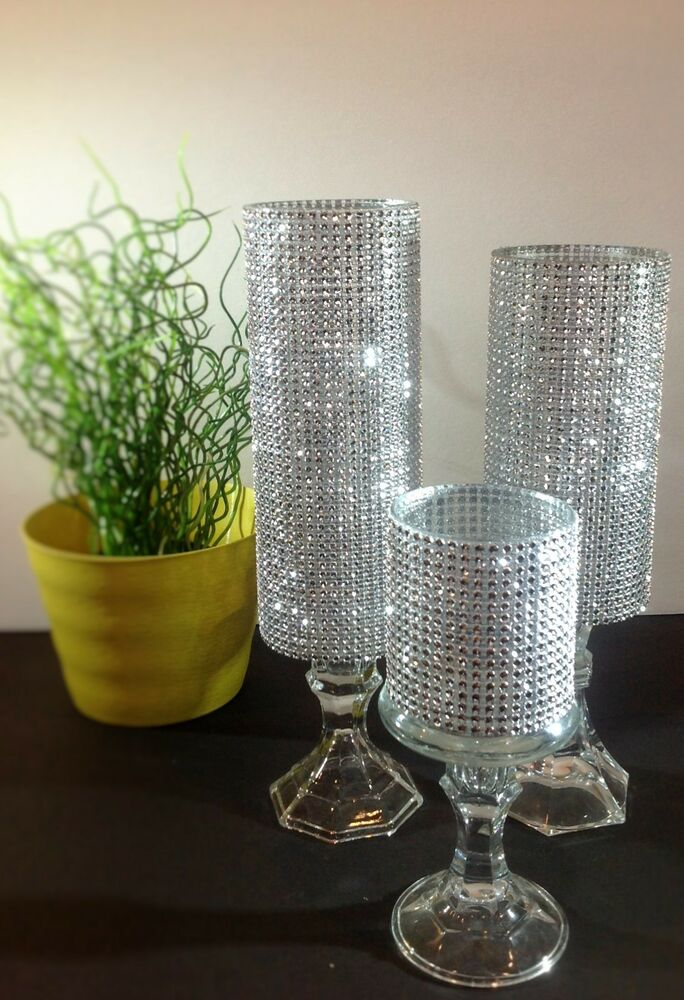 3 Set Candle Holder Glass Wedding Centerpieces Tall
