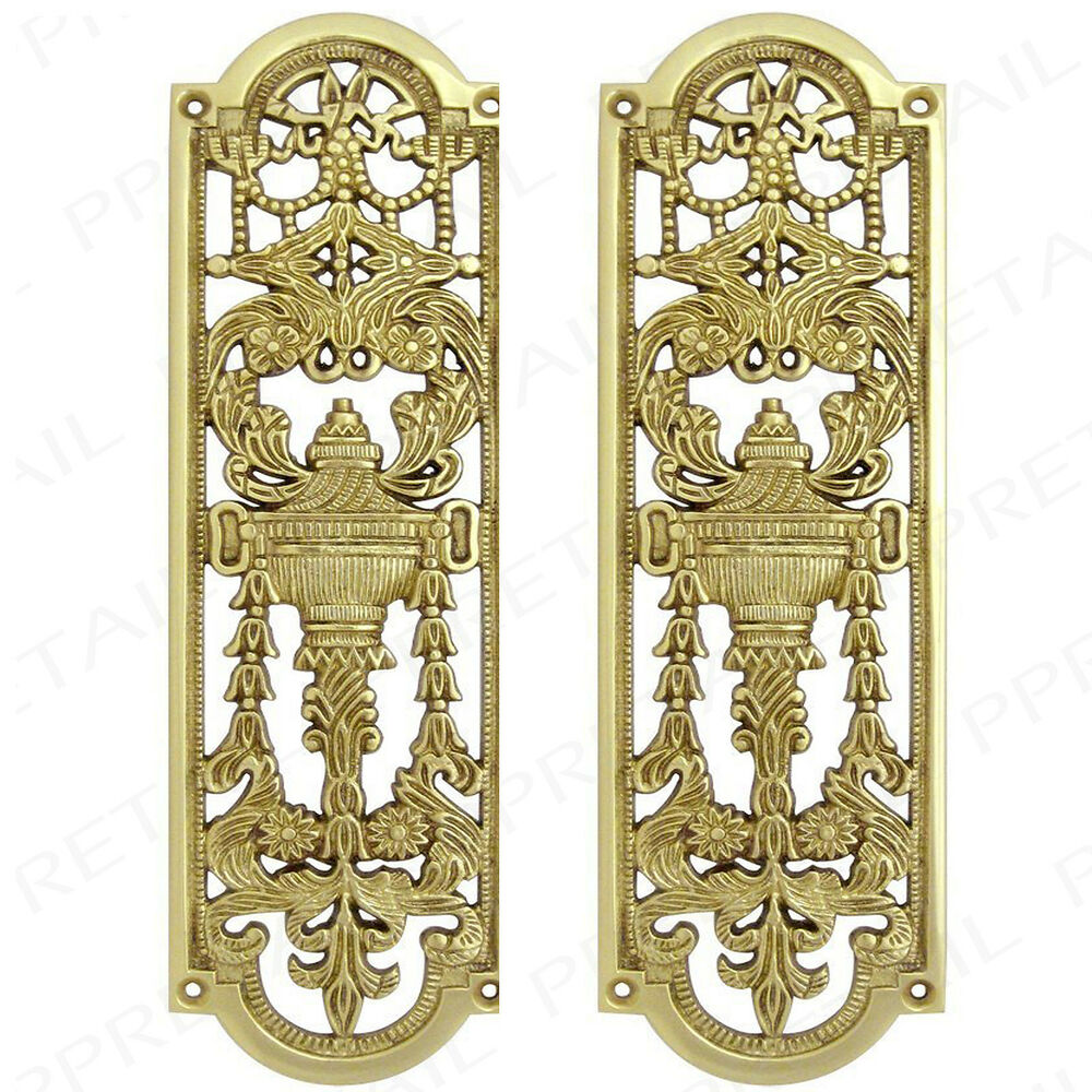 2x Heavy Solid Brass Decorative Push Plates Screws High