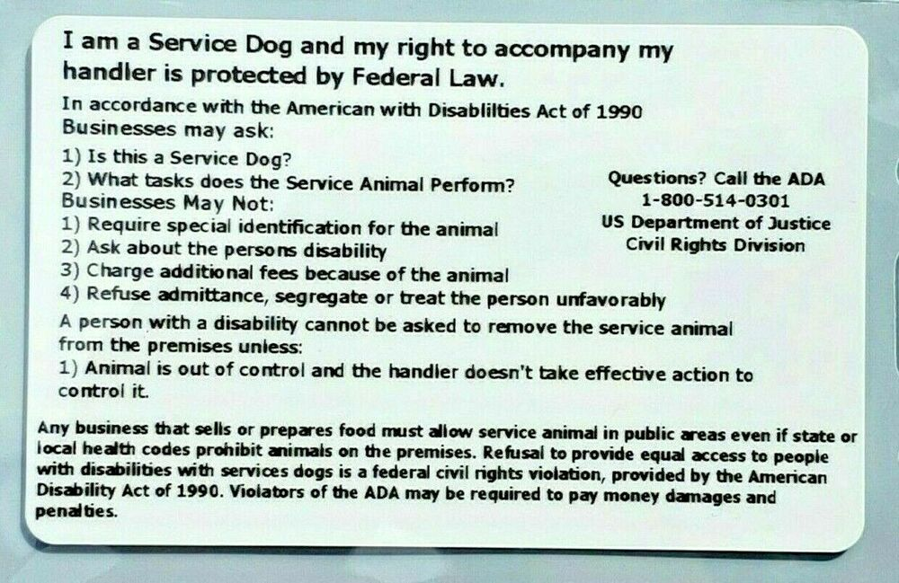 2 Professional Service Dog Ada Rights Card Vest Tags