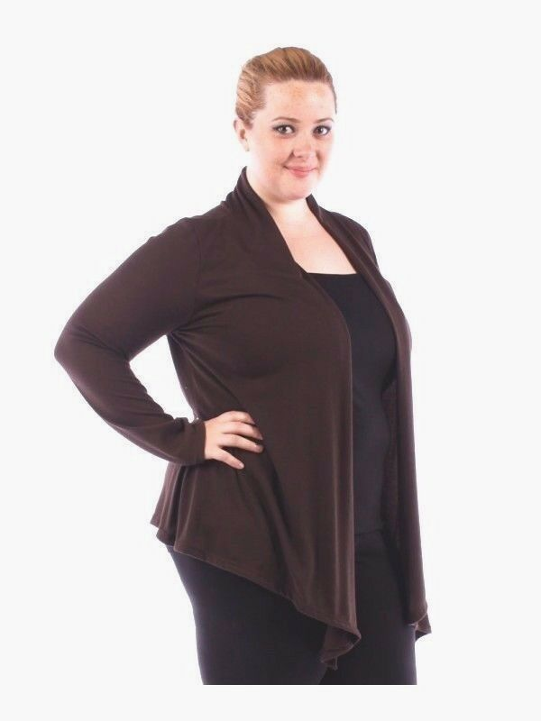 New Women's Plus Size Brown Thin Knit Open Long Sleeve ...