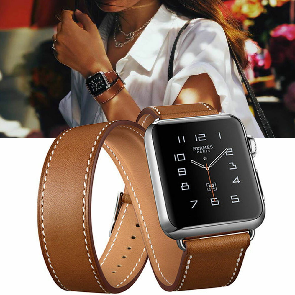 Genuine Leather Watch Band Double Tour Bracelet Strap for