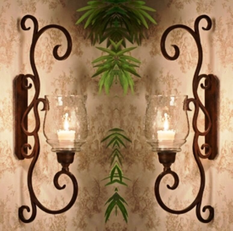 Metal Wall Sconces For Candles : NEW TUSCAN LARGE 22.75